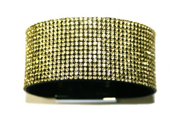 Diamante crystal bling cuff bracelet kit - Yellow - lemon -- 4009017